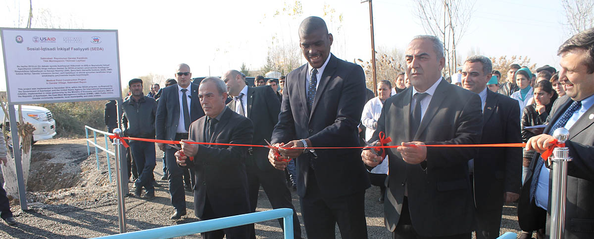 Dereck Hogan, Chargé d'Affaires of the U.S. Embassy in Baku during the ribboncutting ceremony in Garalar village, Sabirabad