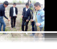 """Schoolchildren in Aliyetmazli community in Imishli planting trees in their schoolyard within the Civic Engagement Grant program executed by """"Dalga"""" Ecology and Nature Protection Public Union"""