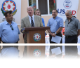 Representatives of the local ExCom and the municipality, MEI officials, and USAID representative gathered to mark the successful completion of the construction