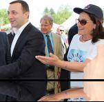 Georgian Prime Minister Irakli Garibashvili and US Ambassador Richard Norland visited the EWMI table in Zugdidi