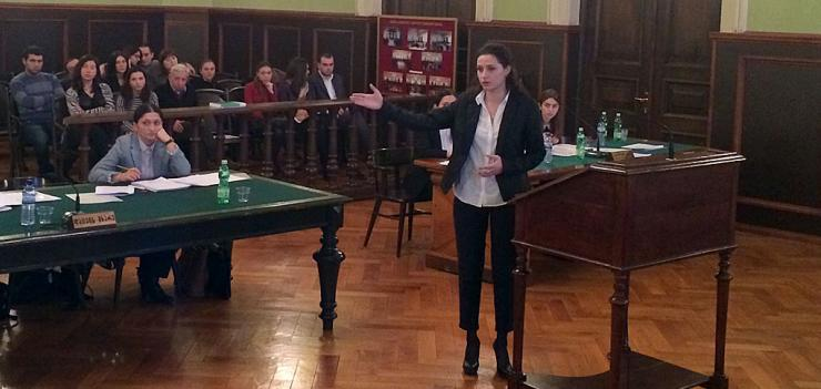"""Attorney"" representing Akaki Tsereteli University questions witness in final round of competition."