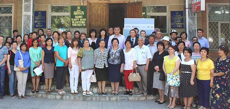 Vice Rector of Talas State University Melis Turgunbaev (center), USAID CGP Deputy Chief of Party Ruslan Moldokasymov (to the right), Gulaina Syidanova-Mavigoz, Director of the Association of NPM Educators (to the left), faculty and students, representatives of the Education Board, state administrative bodies of Talas oblast, representatives of EWMI's Collaborative Governance Program, and civil society organizations participate in the inauguration ceremony.