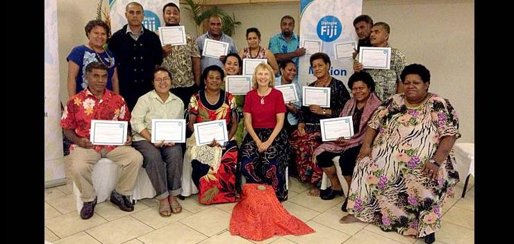 Mediators and dialogue facilitators from various parts of Fiji attended the Training of Trainers Workshop led by Sylvia
