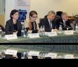 Coalition public forum held in December 2015. (L to R: Douglas Ball, USAID Mission Director; Anna Natsvlishvili, GYLA; Nino Gvenetadze,  Chief Justice; David Usupashvili, Speaker of the Parliament; Alexandre Baramidze,  First Deputy Minister of Justice)