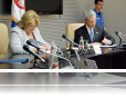 L to R: US Ambassador Warlick, HCC President Mesarovic, and Mission Director Harvey