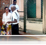 Mediation Specialist, Laurie Cooper, speaks with guards at the Firestone Prison Guardhouse